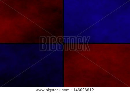 Black background with red and dark blue rectangles