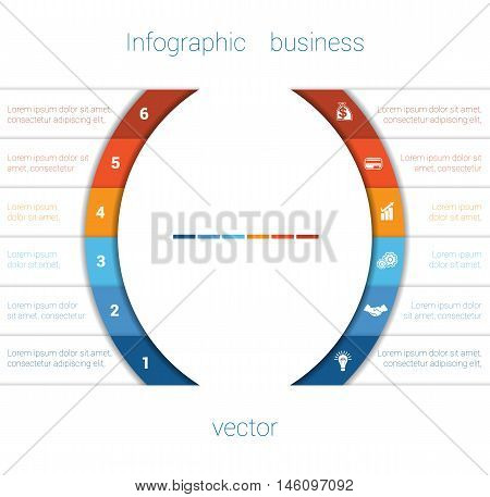 Vector Template Infographic Six Position. Colorful Semicircles and White Strips for Text Area. Business Area Chart Diagram Data.