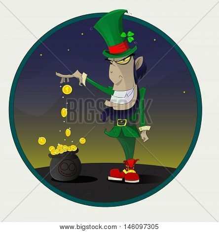 Sinister and fun cartoon Irish leprechaun with gold. Greeting card template of St. Patrick day. Vector