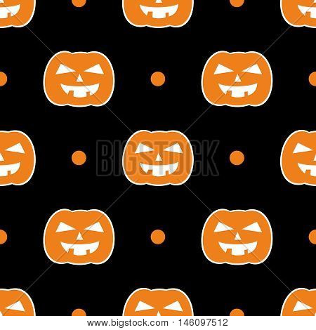 Halloween tile vector pattern with orange pumpkin and dots on black background