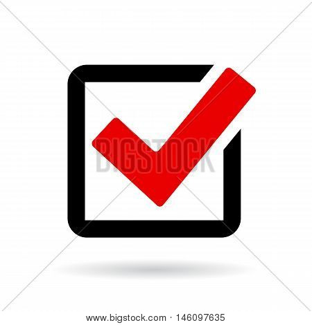 Red check box icon vector illustration isolated on white background