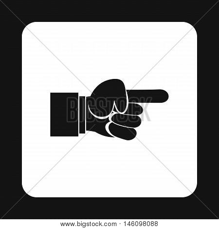 Pointing hand gesture icon in simple style on a white background vector illustration