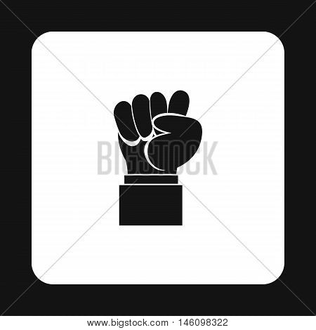 Raised up clenched male fist icon in simple style on a white background vector illustration