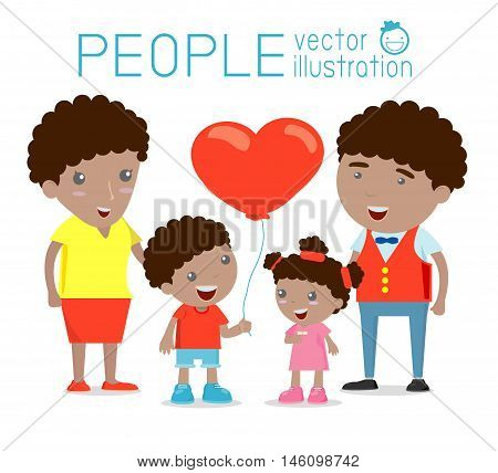 Happy family , Happy family gesturing with cheerful smile, Parents with kids. Vector colorful illustration in flat design isolated on white background, african-american family, wedding, pregnant, old
