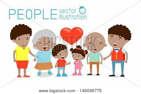 big Family group portrait parents grandparents and children, Happy cartoon family,,african-american family, wedding, pregnant, old