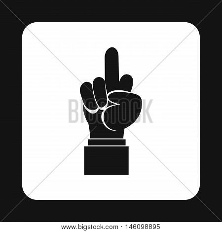 Middle finger hand gesture icon in simple style on a white background vector illustration