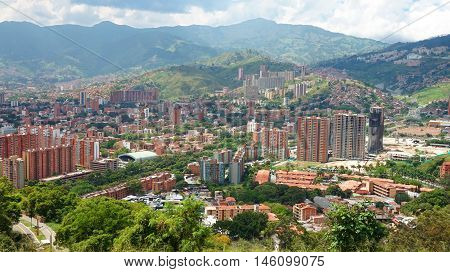 Panoramic view of the central area of the city of Medellin - Antioquia / Colombia