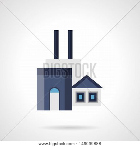 Coal power plant or factory. Industrial buildings and facilities with towers and pipes. Environment problems and industry. Flat color style vector icon.