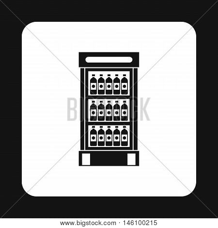 Refrigerator showcase for cooling drinks in bottles icon in simple style on a white background vector illustration