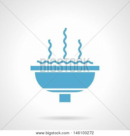 Monochrome silhouette of stone fountain bowl. Decoration of old parks and gardens, urban landscape. Symbolic blue glyph style vector icon.