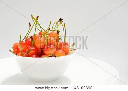 Ripe Cherries In A White Plate On A White Background. Porcelain Bowl Filled With Fruit, Still Life.