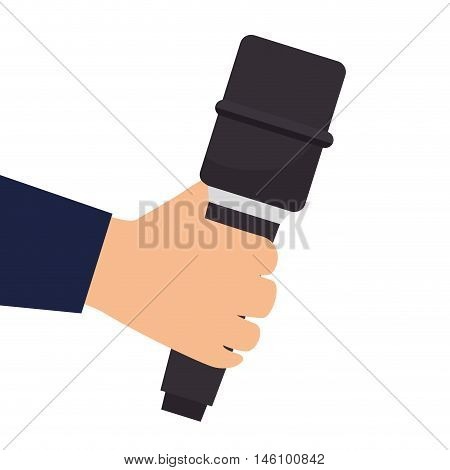 hand holding a microphone audio and technology device. news journalist vector illustration