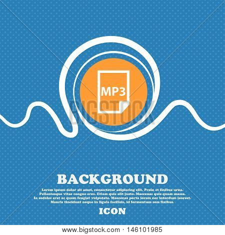 Mp3 Icon Sign. Blue And White Abstract Background Flecked With Space For Text And Your Design. Vecto