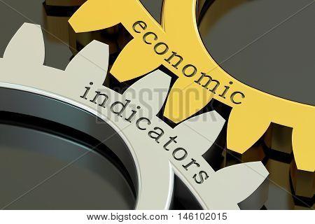 Economics Indicators concept on the gearwheels 3D rendering