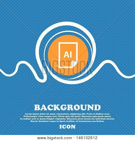 File Ai Icon Sign. Blue And White Abstract Background Flecked With Space For Text And Your Design. V