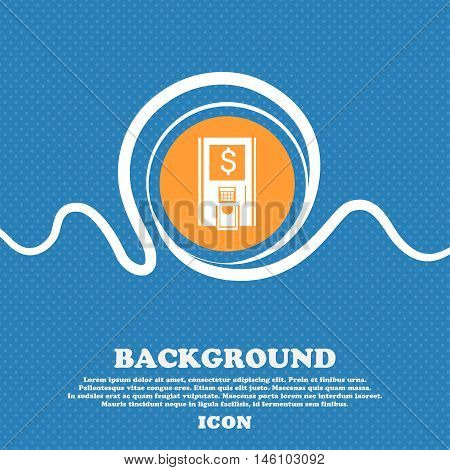 Atm Icon Sign. Blue And White Abstract Background Flecked With Space For Text And Your Design. Vecto