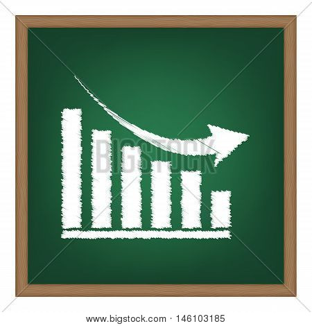 Declining Graph Sign. White Chalk Effect On Green School Board.