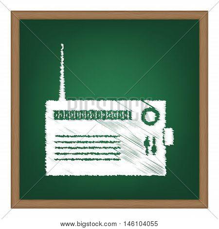 Radio Sign Illustration. White Chalk Effect On Green School Board.