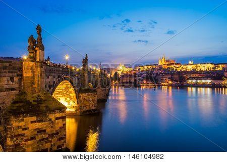Views of the River Vltava Charles Bridge and the Castle beyond. Prague Czech Republic Europe