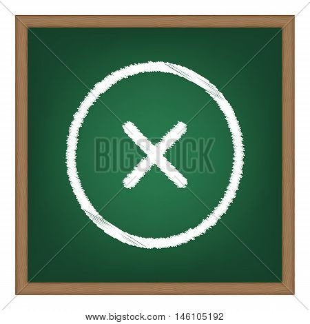 Cross Sign Illustration. White Chalk Effect On Green School Board.