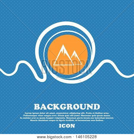 Mountain Icon Sign. Blue And White Abstract Background Flecked With Space For Text And Your Design.
