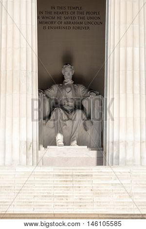 Detail of the Lincoln Memorial at  Washington D.C.