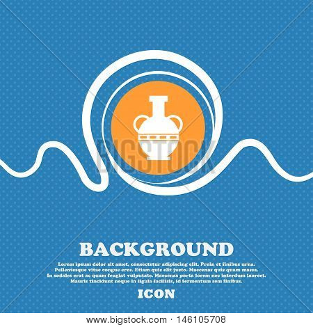 Amphora Icon Sign. Blue And White Abstract Background Flecked With Space For Text And Your Design. V