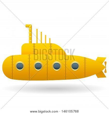 Yellow Submarine . White background. Cartoon style. Isolated object. Vector Image.