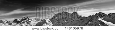 Black And White Panorama Of Winter Mountains