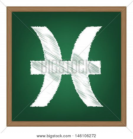 Pisces Sign Illustration. White Chalk Effect On Green School Board.