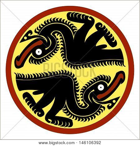 Pelican - stylized graphics. Ethnic pattern of American Indians: Aztecs, Mayans, Incas. drawing in the Mexican style. Vector illustration.