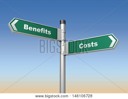 costs benefits road sign 3d concept illustration on sky background