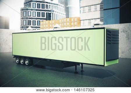 Side view of blank green semi-trailer on city background. Mock up 3D Rendering