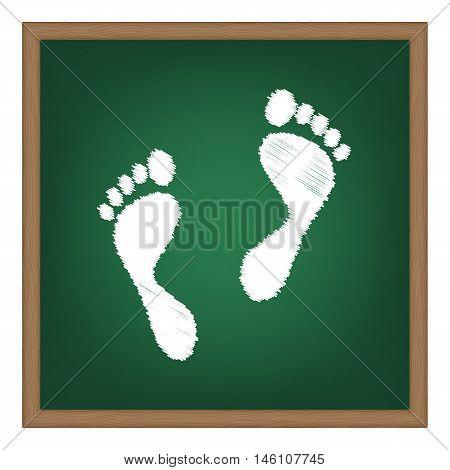 Foot Prints Sign. White Chalk Effect On Green School Board.