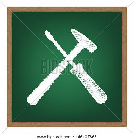 Tools Sign Illustration. White Chalk Effect On Green School Board.
