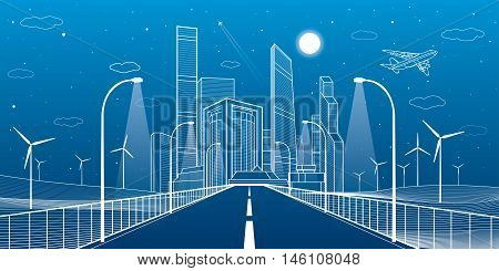 Highway. Road lighting lanterns. Business center, architecture and urban illustration, neon city, white lines composition, infrastructure, skyscrapers and towers, vector design art