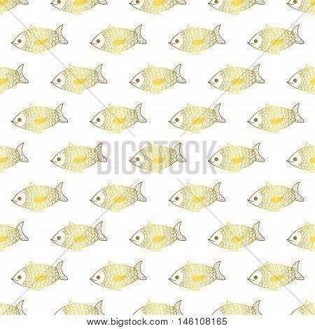 Goldfish cute doodle vector seamless pattern. Fun animals. Pisces fish