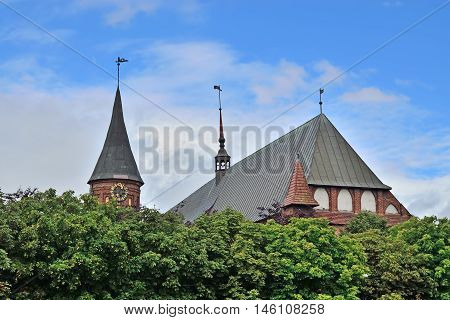 Tower of the Cathedral of Koenigsberg. Gothic 14th century. Symbol of the city of Kaliningrad, Koenigsberg before 1946, Russia