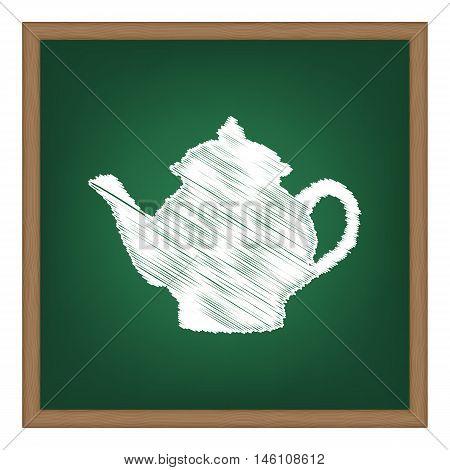 Tea Maker Sign. White Chalk Effect On Green School Board.