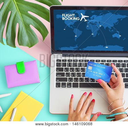 Flight Booking Reservation Travel Destination Concept