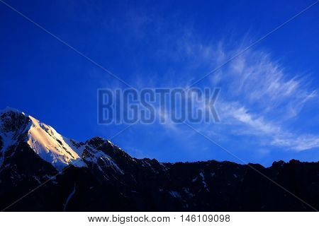 Sunset alpine landscape in Altai Mountains, Siberia, Russian Federation