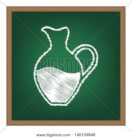 Amphora Sign. White Chalk Effect On Green School Board.