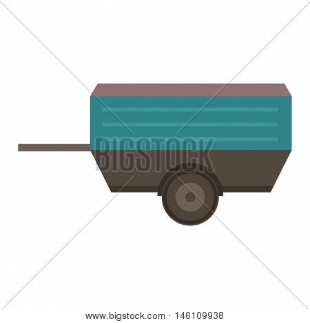 Vehicle car trailer isolated on white. Transportation car vehicle isolated car trailer vector. Truck cart view equipment wheel car trailer outdoors delivery small steel trailer vector.Vehicle trailer