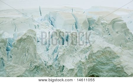 Detail, Glacier Floweing Into Ocean, Icefalls