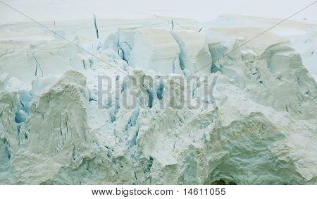 Detail, Glacier Floweing Into Ocean, Icefalls