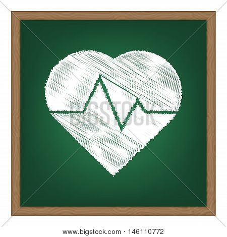 Heartbeat Sign Illustration. White Chalk Effect On Green School Board.