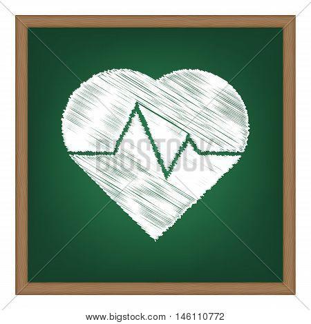 Heartbeat Sign Illustration. White Chalk Effect On Green School Board.