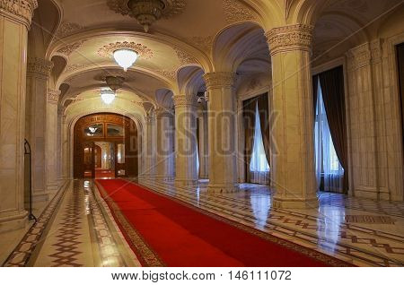 Bucharest, Romania - May 5, 2014: Interior of Palace of Parliament on in Bucharest.