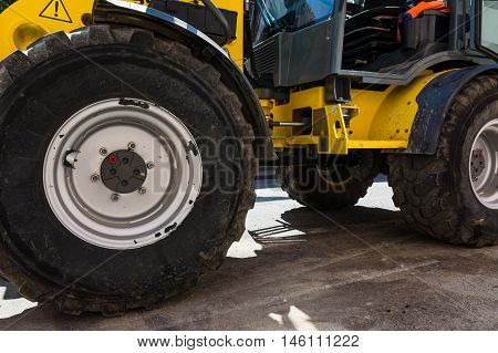 Tractor Bulldozer Yellow Construction Equipment Tire Massive Detail