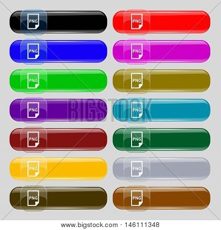 Png Icon Sign. Set From Fourteen Multi-colored Glass Buttons With Place For Text. Vector